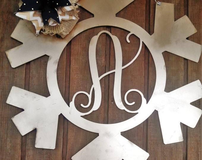 Monogram Snowflake Wreath, Christmas Wreath, Christmas Door Hanger, Christmas Wall Decor, Winter Decor, Holiday decor, Christmas Decor