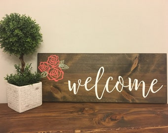 Welcome Sign | Entryway Decor | Home Decor | Housewarming Gift | Welcome Sign with Flowers