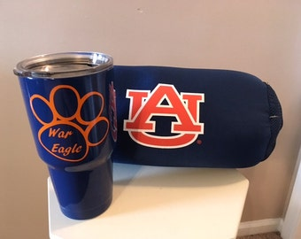 War Eagle! Auburn 30oz RTIC Tumbler your choice of bald eagle or tiger paws