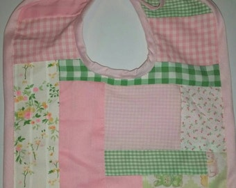 Vintage fabric pieced greens and pinks baby bib