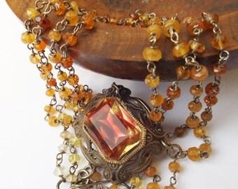 German glass, vintage glass, 1940s glass, warm colours, spessartine gemstone, orange beaded necklace, oxidised silver, liver of sulphur