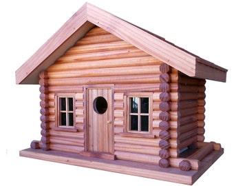 Log Cabin Style Combination Birdhouse/Feeder