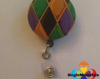 Mardi Gras fabric covered badge reel (pattern will vary)