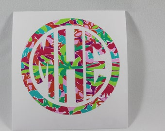 lilly monogram decal, lilly pulitzer inspired decal for yeti decal, rtic decal, laptop decal, custom tumbler, corkcicle decal lilly pulitzer