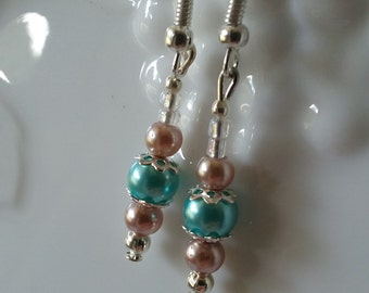 Turquoise and mauve pink glass pearl earrings with silver bead caps