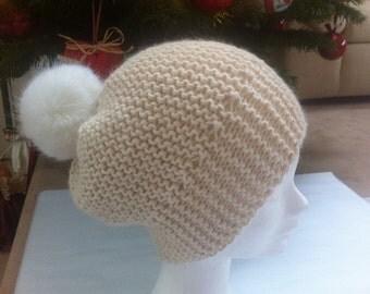 Off white, Moss, alpaca with Pompom Beanie