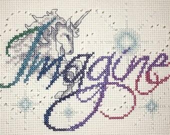 Imagine- Finished Cross Stitch