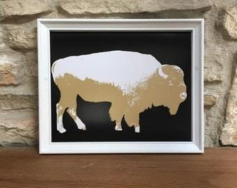 Colorado Buffaloes Print: University of Colorado, Boulder, Buffalo, Bison, Black, Gold, Mascot, College Football, Ralph the Buffalo