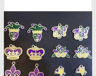 Lot of 12 Enamel Mardi Gras Mask Charms ~ Jewelry Making ~ Bracelets / Earrings