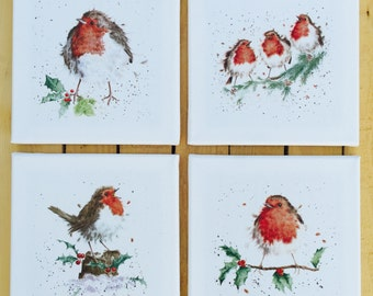 Handmade Canvas Pictures Set of 4 Christmas Robin