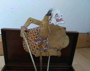 Indonesian shadow puppet with box