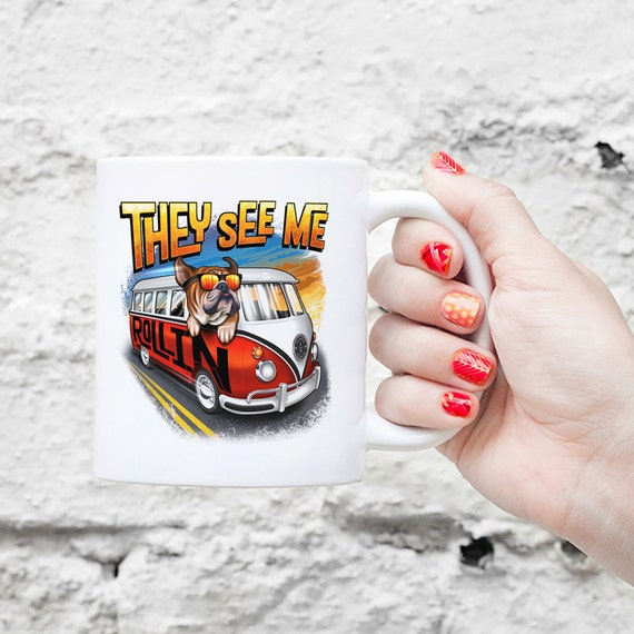 They See Me Rollin Bulldog Mug - VW Bus - English Bulldog Gift, Funny Bulldog Mug, Cute Holiday Coffee Gift, Dog Lover Gift