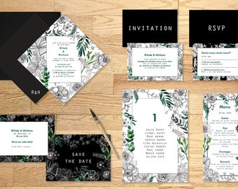 Pack imprimable faire-part mariage Garden Party - Pack printable wedding invitation Garden Party Watercolor