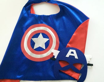 Captain america cape mask, Captain america costume, Captain america cosplay, super hero cape, Captain america mask, Super hero cape