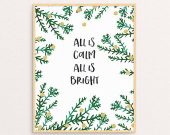 Christmas Wall Art All is Calm All is Bright Decor Holiday Print
