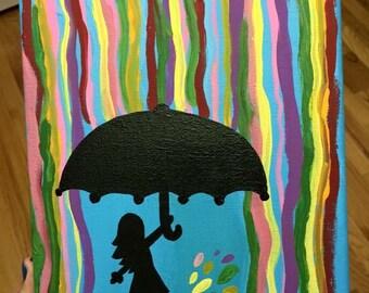 Rainbow raining silhouette canvas