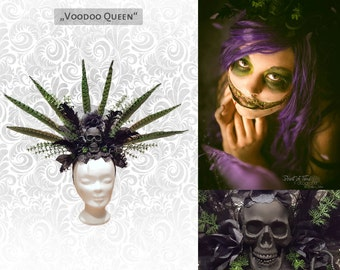 "Headdress ""Voodoo Queen"" flower feather head dress"