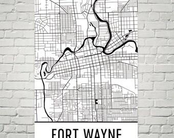Fort Wayne Map, Fort Wayne Art, Fort Wayne Print, Fort Wayne Indiana Poster, Fort Wayne Print, Fort Wayne Wall Art, Fort Wayne Gift, Art