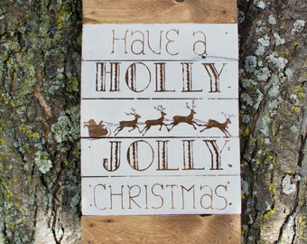 Holly Jolly Christmas Pallet Wood Sign