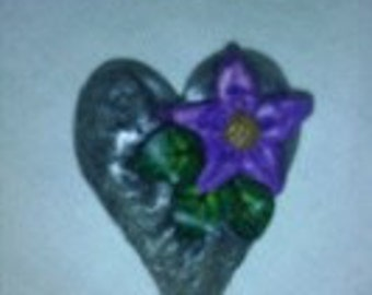 Heart of stone polymer clay magnet with purple flower