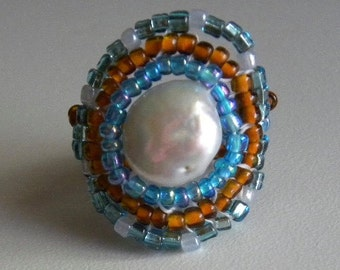 Pearl Coin Center Beaded Ring