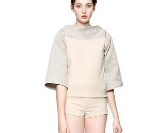 Handmade Wide Sleeve Top in Beige Color