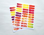 30 - Write-On Full Water Color Stickers Header Warm Palette Design on White Paper Background Planner or Bullet Journal Stickers (WD)