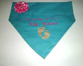 Dog Bandana, Gender Reveal, Photo Shoot, Baby Gift,  I'm Going to be a Big Sister, Baby Announcement, Reveal Announcement, Dog Lover Gift