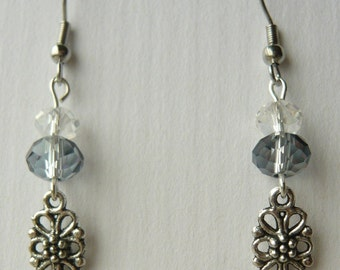 Pewter and crystal earrings with NICKEL FREE ear wires