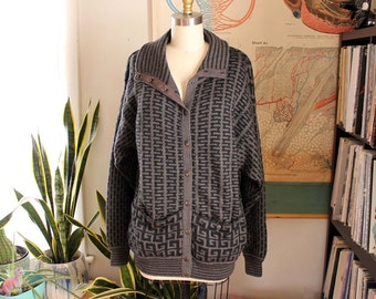 gray Greek key cardigan sweater with snaps, mock neck & pockets . oversized boyfriend fit cardi, bulky and warm . small medium large xl