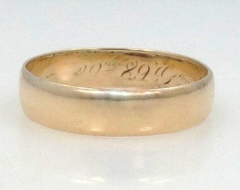 1889-1890 14k Gold Victorian Wedding Band