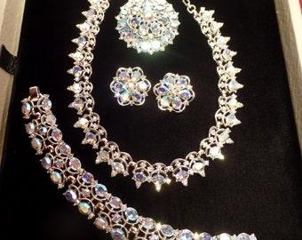 "Dazzling 1950's Set Signed Trifari-""Queen Anne"" Design"