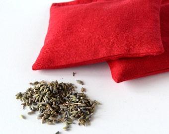Organic Lavender Sachets in Red Linen  Hostess Gift Drawer Sachet Set of 2  Natural Home Wedding Favors