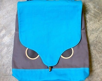 Owl Backpack, Hoot The Owl UNISEX BackPack, Owl Harvestsack, Owl Diaper Bag, Diaper Backpack, Turquoise Gray color, 4 WKS TURNAROUND needed