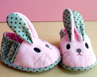 Elastic Baby Booties, Bunny Baby Shoes, Rabbit Baby Booties, Fabric Baby Shoes, Prewalker Booties, Newborn Infant Booties, Chubby Bunny 16