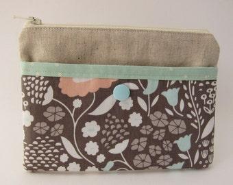 Garden Grey Linen Snap and Zip Pouch