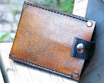 Men's Hand Stiched Leather Wallet - Slim Jim Bifold Money Clip --- Old World Map - MADE to ORDER