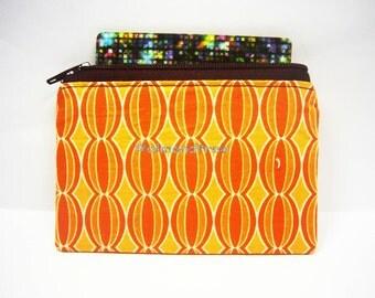 Retro orange portefeuille, small unpadded zip coin purse, women wallet, credit card case, id1370603, portemonnaie, business