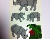 Vintage Rhino Velvet sticker set 80s