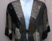 1980s 90s Vintage Patchwork Jacket ~ Nothing matches / rayon / Boho OVS lagenlook