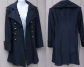 "60s Vintage Navy Blue MOD Raincoat / Princess Seaming with Military style cuffs by Designer ""Jolee"" New York / Size Sml"
