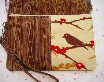 Wedding Clutch, gift pouch 2 pockets,medium,bird, wristlet, cotton- Sparrow bark
