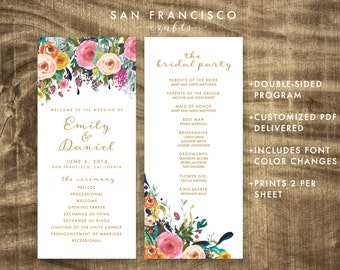 Floral Wedding Program, Ceremony Program, Custom, Gold, Printable - PDF File