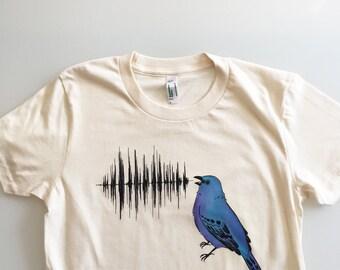 Indigo Bunting Call, bird nerd, handmade shirt, birdwatcher, nature lover gift (ladies - medium)