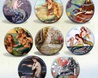 Enchanting Mermaids badges Set of 8 pin back buttons and magnets