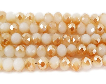 Cream Glass Faceted Rondelle w/Champagne AB Finish Beads