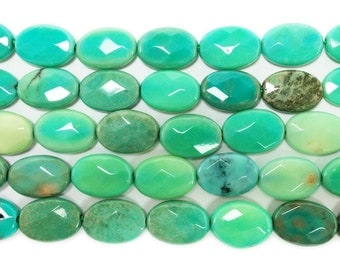 Australian Green Grass Agate Faceted Oval Gemstone Beads
