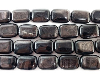 Hypersthene Rectangle Gemstone Beads