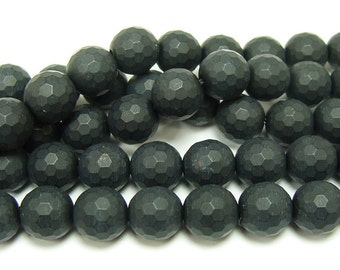 Black Matte Agate Faceted Gemstone Beads