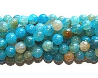 Aqua Agate Round Gemstone Beads